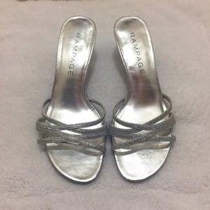 Silver glitter open toe heels, size 6.5